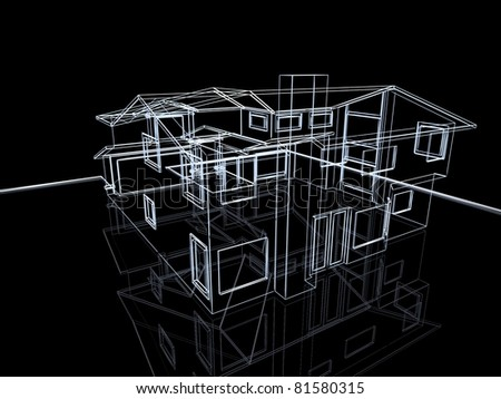 3D abstract cottage. Concept - modern architecture and designing.