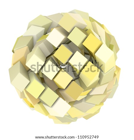3d abstract cube ball shape in white yellow on white
