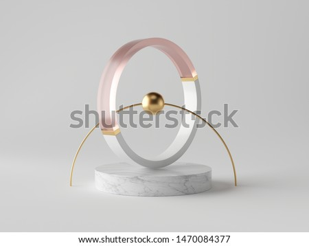 3d abstract decor, small gold ball inside decorative ring on marble podium, isolated on white background, rose pink glass, clean minimalist design, sophisticated modern object