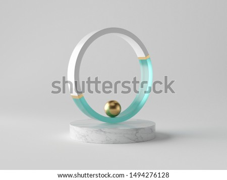 3d abstract decor, small gold ball inside decorative ring on marble podium, isolated on white background, blue glass, clean minimalist design, sophisticated modern object