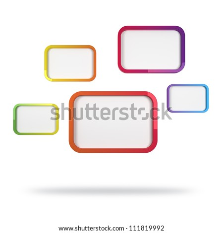 3d abstract design with colorful rectangles on white background