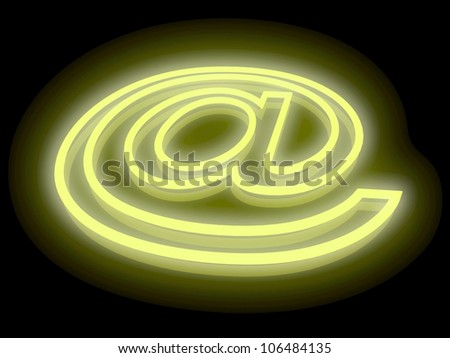 3D abstract E-mail symbol in the yellow neon light