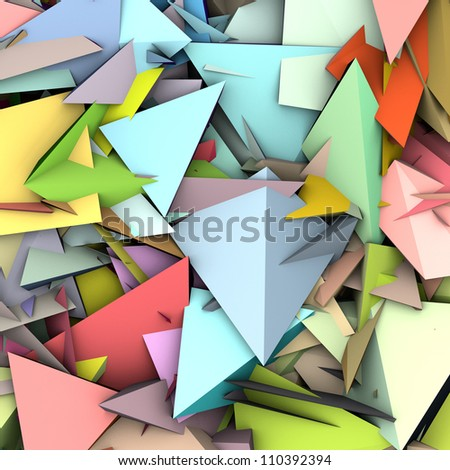 3d abstract fragmented pattern in rainbow color backdrop