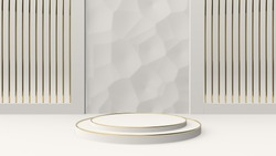 3d abstract geometric background with pedestal. Minimalistic modern trendy illustration. White and gold colors.