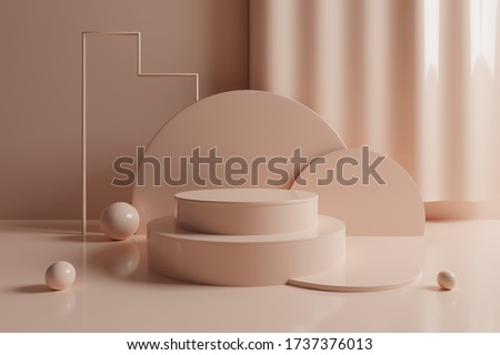 3d abstract geometric scene with cream tone podium. 3d illustration stock photo