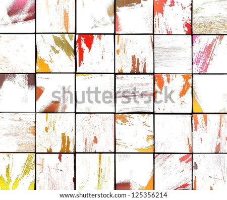 3d abstract graffiti white brush tile backdrop in multiple color