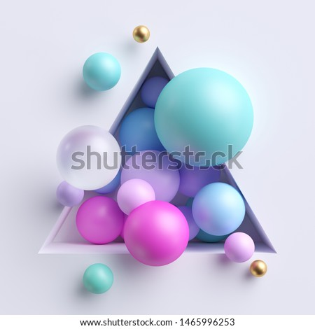 3d abstract illustration, assorted pink blue pastel balls inside triangular niche isolated on white background