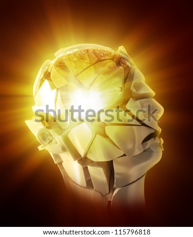 3D abstract illustration - exploding head