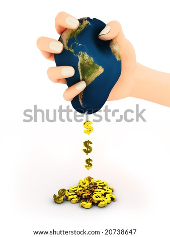 3d abstract illustration of hand with earth and dollar signs