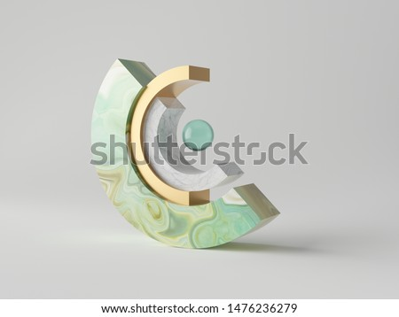 3d abstract minimal modern background, balance concept, cut cylinder blocks isolated on white, marble, green agate or onyx, blue translucent glass ball, simple clean design, classy decor