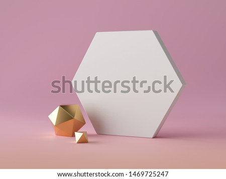 3d abstract modern minimal background, white hexagonal canvas isolated on pink, assorted golden decorative polygonal objects, minimalistic scene, blank mockup, fashion elements, simple clean design