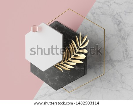 3d abstract modern minimal background, white polygonal canvas isolated on pink, black marble texture, glass ball, golden frame, hexagon, geometric fashion scene, simple clean design, blank mockup