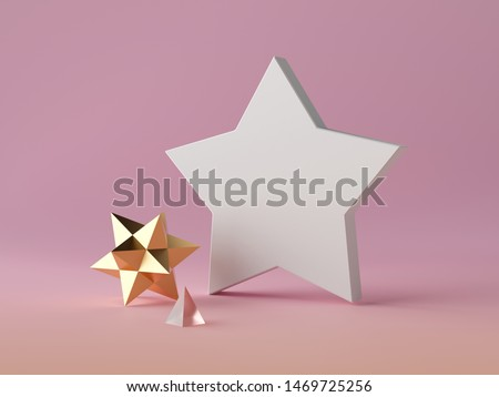 3d abstract modern minimal background, white star shape canvas isolated on pink, gold crystal polygonal object, glass pyramid, minimalistic scene, fashion elements, simple clean design, blank mockup