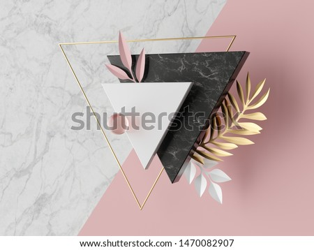 3d abstract modern minimal background, white triangular canvas, black marble texture, pink glass ball, golden triangle, geometric fashion decor, paper palm leaves, simple clean design, blank mockup