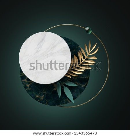 3d abstract modern minimal background with paper palm leaves, black white gold round banner frames isolated on green, marble textures, geometric design, blank fashionable mockup