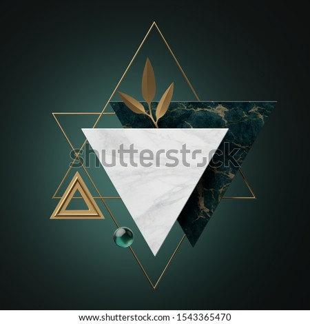 3d abstract modern minimal background with paper palm leaves, black white gold triangular banner frames isolated on green, marble textures, geometric design, blank fashionable mockup