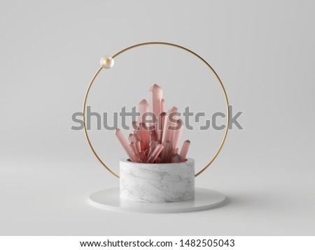 3d abstract modern minimalist background, rose pink crystal nugget, white marble cylinder podium, isolated object, fashion design elements, classy decor, simple clean design