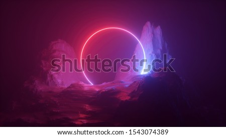 3d abstract neon background. Cosmic landscape, terrain at night, foggy rocks, ground. Round frame, red blue light, virtual reality, energy source, dark space, laser ring.