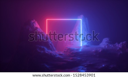 3d abstract neon background. Cosmic landscape, terrain at night, foggy rocks, ground. Square frame, red blue violet light, virtual reality, energy source, dark space, laser ring. Sacred geometry.