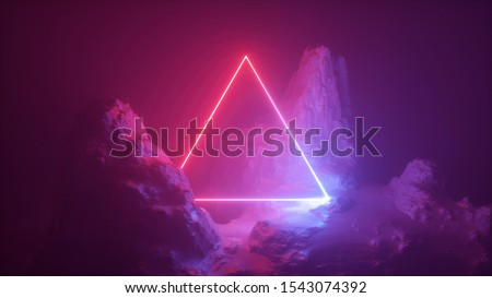 3d abstract neon background. Cosmic landscape, terrain at night, foggy rocks, ground. Triangular frame, red light, virtual reality, energy source, dark space, laser ring. Sacred geometry.