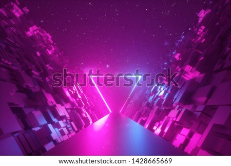 3d abstract neon background, glowing triangular portal in cyber space, triangle shape, fantastic scene in virtual reality, road between walls of blocks under the night sky