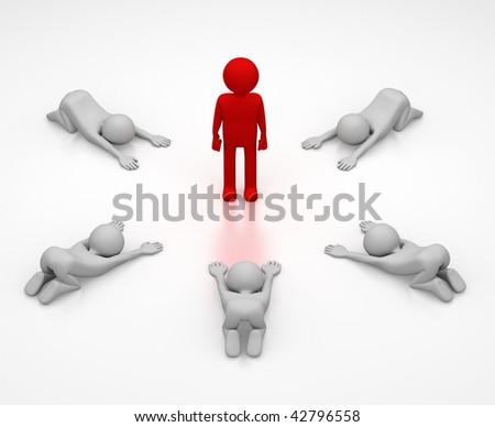 3D abstract of a person in red surrounded by a ring of 5 persons bowing down in respect.