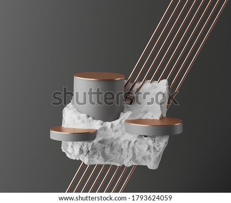 3D abstract podium display set. Grey stone levitating. Black background with gold shapes. Gray pedestal stand on flying white rock for cosmetics beauty product promotion mockup. 3D render illustration