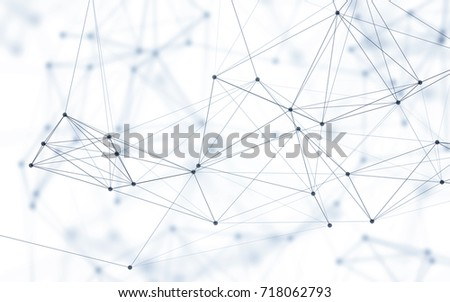 3D Abstract Polygonal Space White Background with Blue Low Poly Connecting Dots and Lines. Endless Mesh Representing Internet Connections in Cloud Computing.