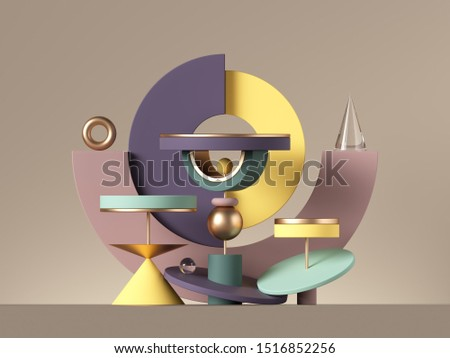 3d abstract postmodern design with assorted geometrical shapes isolated on neutral background. Colorful primitives: cone ball cylinder torus, blank pedestal or podium. Constructor toys for children.