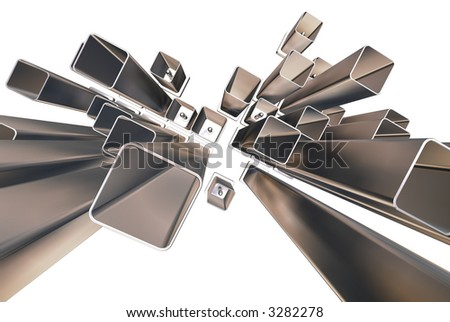 3d abstract rectangles - stock photo