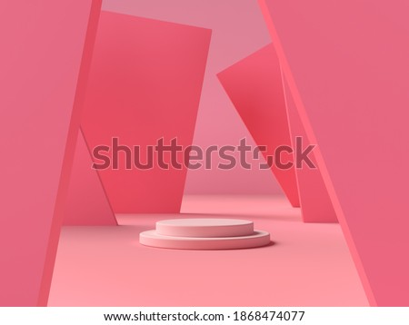 3D abstract render.Mock up Stage or podium Minimalist with empty for awards ceremony use for Recommend products, promote products design on pink pastel background stock photo
