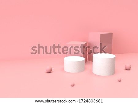 3D abstract render.Pink platform for product display interior podium place with empty for awards ceremony use for Recommend products, promote products design on pink pastel background