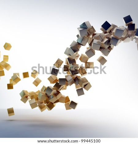3D abstract rendering - flying shiny cubes