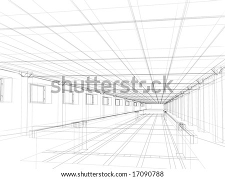 3d Abstract Sketch Of An Interior Of A Public Building Stock Photo ...