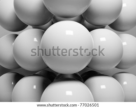 3d abstract spheres with reflective surface
