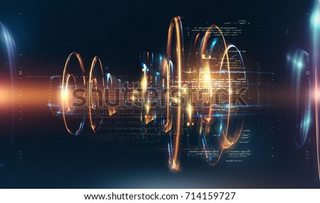 3d abstract tech background. Floating Numbers HUD Background. Matrix particles grid virtual reality. Smart build. Grid core. Hardware quantum form. Future technology