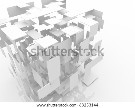 3d abstract white cube