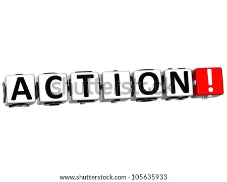 3D Action Button Click Here Block Text over white background