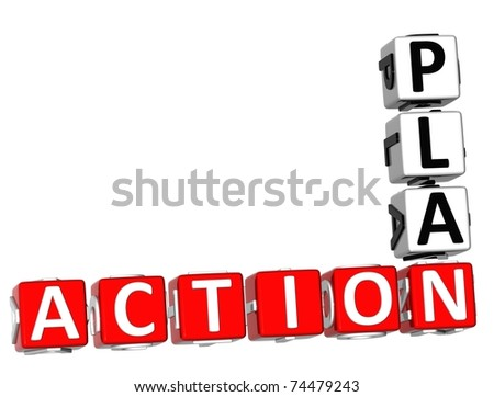 3D Action Plan Crossword on white background