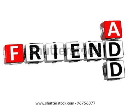 3D Add Friend Crossword cube words on white background