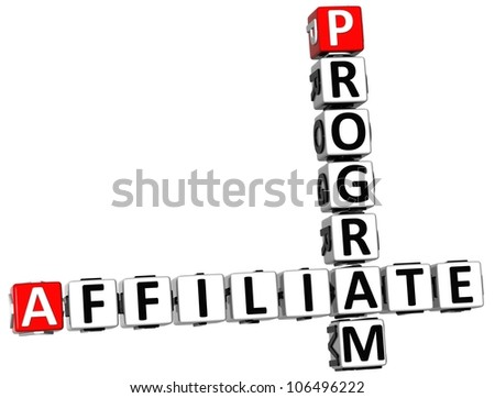 3D Affiliate Program Crossword on white background