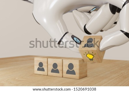 3d ai  rendering artificial intelligent robot hand flip the wooden cube with human officer and light bulb wih creative idea and innovation concept,