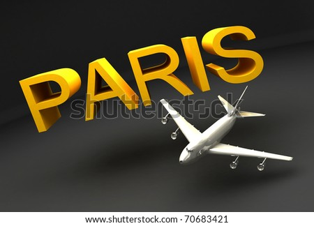 3D AIRPLANE AND PARIS TEXT