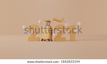 3d Airplane flying above 2021 with Traveling suitcase. concept for travel new year 2021.3d rendering.