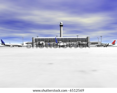 3D Airport with planes front view