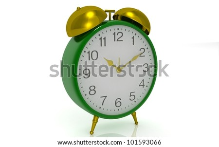 3D alarm clock on white background.