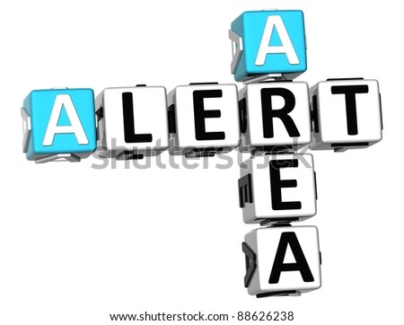 3D Alert Area Crossword on white background