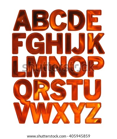 3D Alphabets on isolated white background.