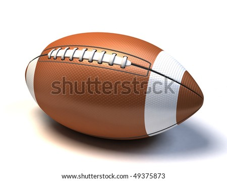 3d American Football on white background - stock photo