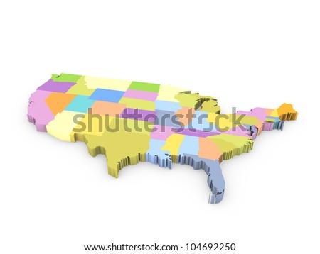 3d american map